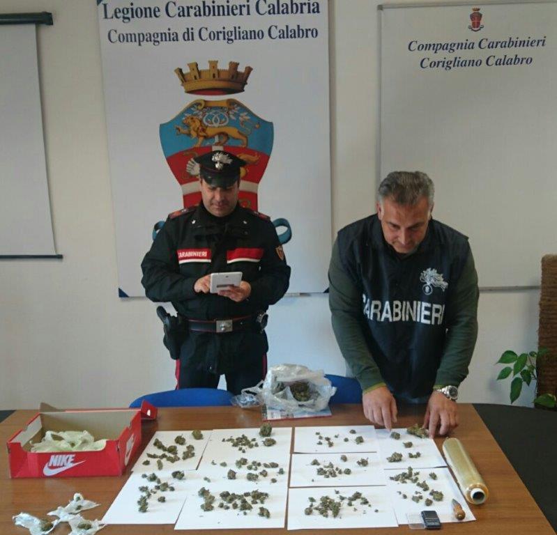 Spaccio di droga, raffica di arresti dei carabinieri a Corigliano Rossano