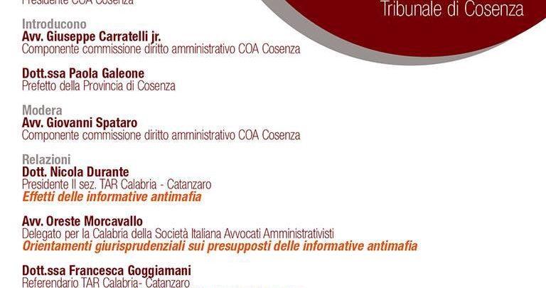 Interdittive antimafia, convegno a Cosenza tra avvocati e magistrati