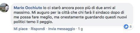 Il commento del sindaco Mario Occhiuto