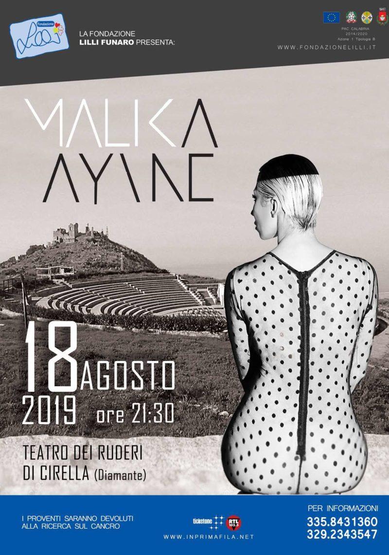 Malika Ayane in concerto al Teatro dei Ruderi di Cirella il prossimo 18 agosto
