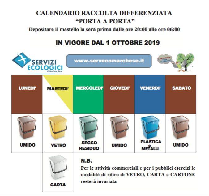 Nuova tabella raccolta differenziata comune San Marco Argentano