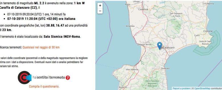 Terza scossa di terremoto vicino Catanzaro: magnitudo ed epicentro