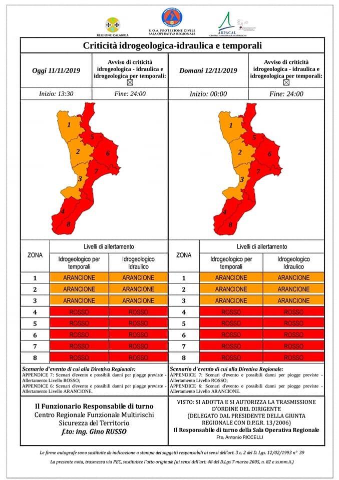 Bollettino meteo emesso dalla Protezione Civile della Calabria, dove sono previsti nubifragi e venti forti. Allerta meteo rossa in gran parte della Regione.