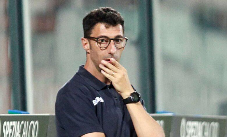 Roberto Occhiuzzi durante l'ultimo match esterno a La Spezia
