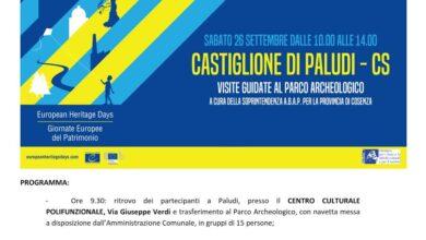 Photo of Giornate Europee del Patrimonio 2020, visite guidate al Parco Archeologico di Castiglione di Paludi